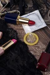 condom and lipstick