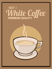 White Coffee background poster card. Vector image