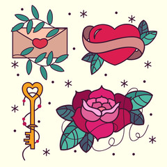 Old school tattoo flash pattern with roses, hearts, birds, keys and arrows. Valentines day or wedding design. Vector illustration