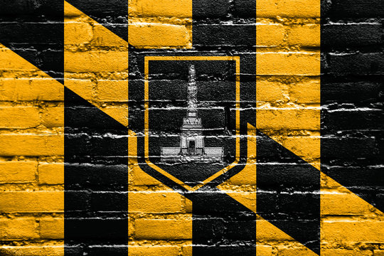 Flag of Baltimore, Maryland, painted on brick wall