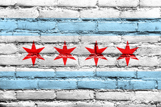 Flag of Chicago, Illinois, painted on brick wall