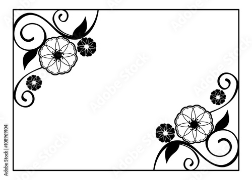 Flower Frame Decorative Black And White Frame With Floral Elements