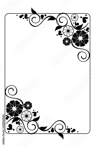 Flower frame Decorative black and white frame with floral