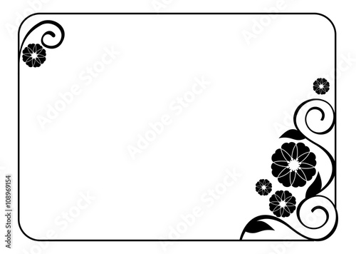 Flower frame decorative black and white frame with floral elements flower frame decorative black and white frame with floral elements for decoration of the wedding junglespirit Images