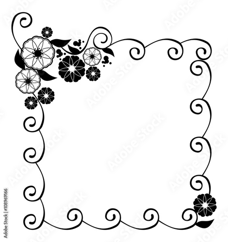 Flower frame Decorative black and white frame with floral – Birthday Cards Black and White