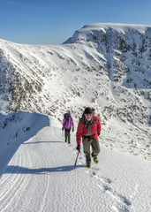 United Kingdom, Scotland, Ben Nevis, Carn Mor Dearg, mountaineers