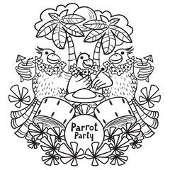 Vector doodle illustration of parrot party. Cocktail parrot party in the tropics under the palm trees
