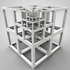 3D illustration of abstract cube construction