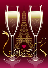Two glasses of champagne on the background silhouette of the Eiffel Tower in Paris. France Inscription on the tape. Vector illustration with transparent glasses.