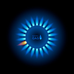 Gas flame with blue reflection. Vector background. EPS 10.