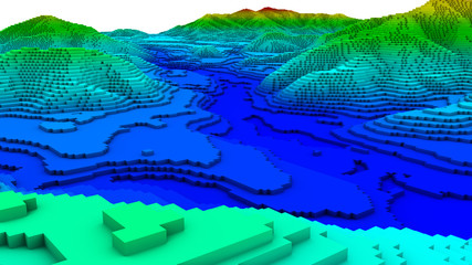 3D illustration of terrain surface structure Wall mural