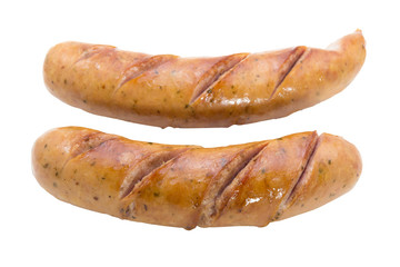 Two fried sausages isolate on white background