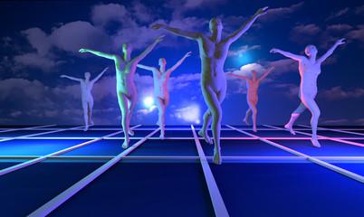 Balletto, immagine surreale in 3d.