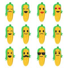 Vector emoji corn set. Set corn smiles. Cartoon emoji corn.