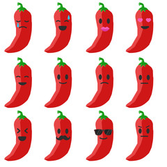 Vector emoji pepper set. Set pepper smiles. Cartoon emoji pepper.