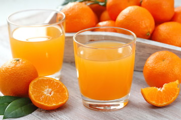 Tangerine juice and fresh fruit