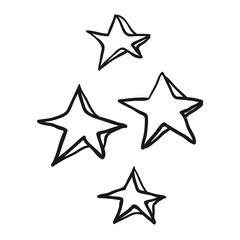black and white freehand drawn cartoon decorative stars doodle