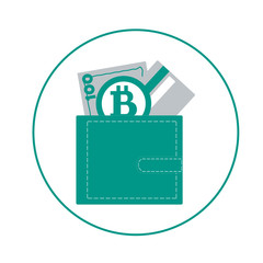 Stylized icon of a colored purse with money bill, credit card an