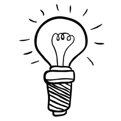 black and white freehand drawn cartoon lightbulb