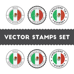Mexican flag rubber stamps set. National flags grunge stamps. Country round badges collection.