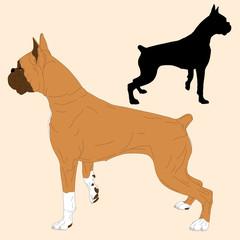 boxer dog black silhouette realistic