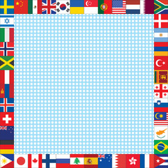 dots background with world flags frame