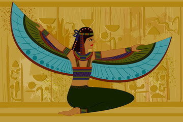 Antique Egyptian papyrus and hieroglyph background