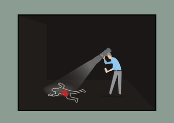 Escape Room Game Concept. Man With Torch Investigating The Crime Scene.