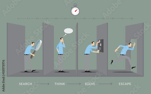 Escape room game concept player in four steps of the for Escape room concept
