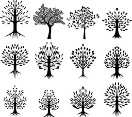 trees silhouette with life background