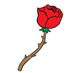 freehand drawn cartoon rose