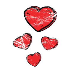 grunge cartoon hearts