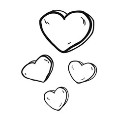 simple black and white freehand drawn cartoon hearts