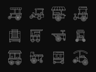 Shop on wheels white flat line vector icons