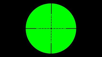 Zielfernrohr in Greenscreentechnik als Vorlage für Film- und Videoschnitt