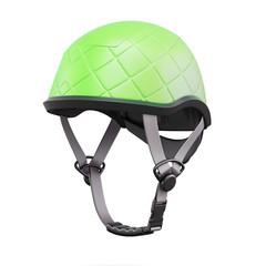 Green helmet isolated on white background. 3d rendering.