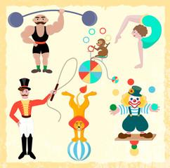 Seth circus theme. Clown, athlete, gymnast, trainer, lion and mo