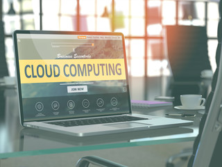 Cloud Computing Concept - Closeup on Laptop Screen in Modern Office Workplace. Toned Image with Selective Focus. 3D Render.