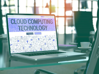 Cloud Computing Technology Concept. Closeup Landing Page on Laptop Screen in Doodle Design Style. On Background of Comfortable Working Place in Modern Office. Blurred, Toned Image. 3D Render.