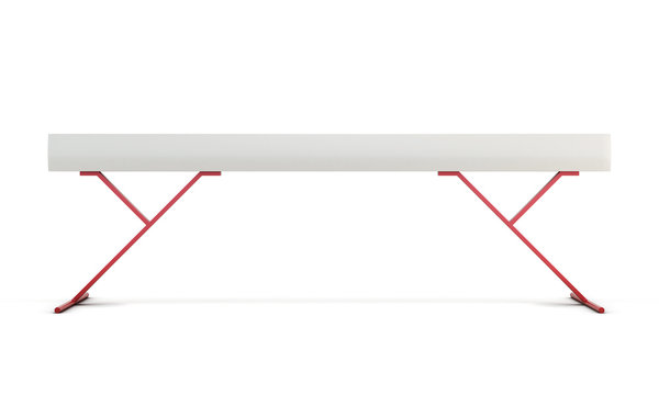 Gymnastic balance beam isolated on white background. 3d rendering.