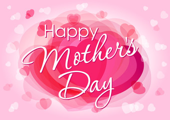 Happy mother day love card. Happy mother's day typographical design with vector heart pink background