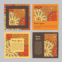 Set of square template cards with hand drawn flower mandala.Stylish geometric pattern in oriental style. Orange, brown, red, beige colors.Indian,asian, arabic, islamic, ottoman, moroccan motif. Vector