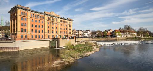 river scene historic city hameln germany