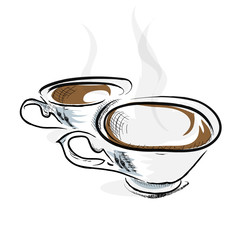 Hand draw sketch with two cup with hot drink vector illustration
