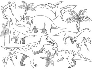 Dinosaur Coloring book vector for adults