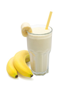 banana milk smoothies with banana fruit on a white background