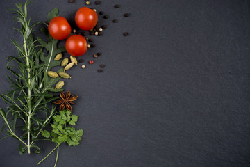 Fresh herbs and spices on dark slate background