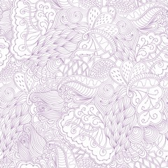 Seamless hina mehndi tracery design. Paisley, winding stem, spiral, wave, bud mehndi doodle. Handmade natural mood texture. Curved lines, doodling design.