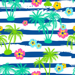 Seamless pattern with palm trees and hibiscus