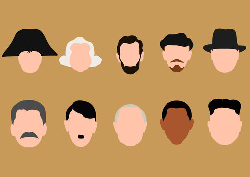 Historical person, presidents heads without faces